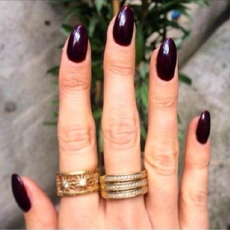 Rosanna Davison wearing Gelish 'Black Cherry Berry'