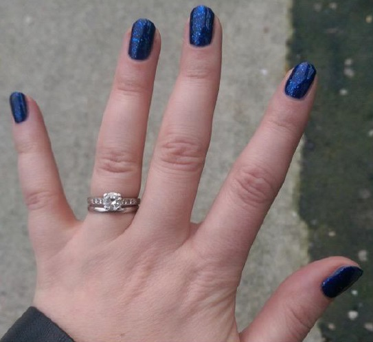 Lorna Claire Weightman wearing Gelish 'Here's to the Blue Year'